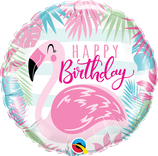 "Folienballon Geburtstag ""Happy Birthday"" pinker Flamingo / 45 cm"