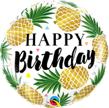 "Folienballon ""Happy Birthday"" mit Ananas / 45 cm"