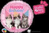 "Folienballon Geburtstag ""Happy Birthday"" süße Katzen"