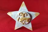 Sternzeichen Stern WIDDER Beton Steinguss weiß gold patiniert 21.03.-20.04.