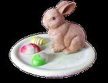 Osterteller mit Hase Braun Gold patiniert mit 3 kleinen Ostereiern auf Teller!