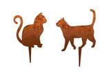 Rost-Deko Katze laufend und sitzend, je 23x21 cm