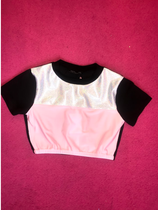 Bubblegum pink velvet and holo crop top