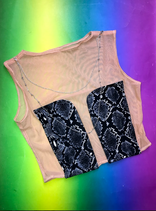 Mesh and snakeprint top