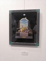彷徨う雲と果実の風景 テンペラ、油彩、木、パネル、布、箔 470×400mm 286,000円