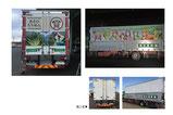 【カーラッピング×運搬業】4tトラックの荷台のカーラッピング。弊社で制作したキャラクターをメインに荷台のサイドとバックパネルに出力シートを貼付しました。〔コントロールタックシート使用/4tトラック〕