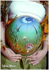 femme enceinte ventre belly painting solenn minier lune féérique