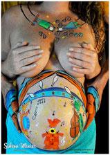 femme enceinte ventre belly painting solenn minier chant chanson violon tambour cirque