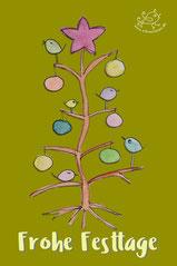 Frohe Festtage pfeifen die Piepmätze vom geschmückten Baum, digitale Grußkarte mit Illustration Baum, geschmückt mit bunten Kugeln, einem Stern und auf den Ästen sitzenden Piepmätzen