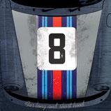 Sticker Porsche 911 Motorhaube Martini