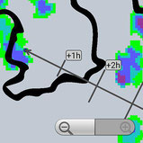 Screenshot der Regenradar-App RegenVorschau