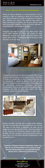 Newsletter - Why to Use and Interior Designer?