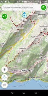 Detailkarte mit Höhenlinien