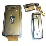 Cerradura eléctrica VIRO postigo horizontal + cilindro para motorización de rueda de AKIA France System