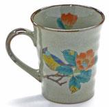 左利き様用 九谷焼『マグカップ』椿に鳥 中裏絵