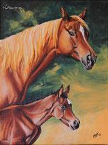 Stute und Fohlen Gemälde, Acryl