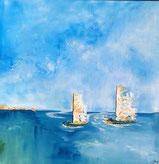 Am See, Acryl auf Leinwand, 50 x 50, Auftragsarbeit
