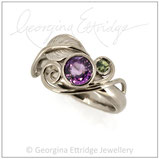 Leaf Ring with Tendrils - Purple & Green Sapphire & 18ct White Gold