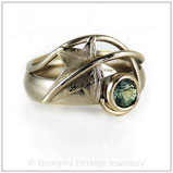 Ivy Leaf Ring with Green Sapphire
