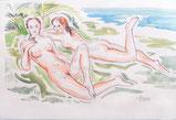 Zwei Schönheiten am Strand