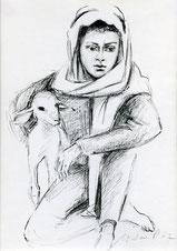 Hirtenjunge mit Lamm