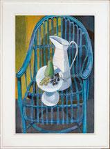 Obststilleben auf blauem Stuhl