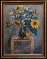 Blumenstilleben auf Stuhl