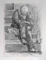 Clochard auf Treppe