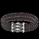 Armband mit geknüpften Leder und Verschluss in Silber aus der Gremlin Männerschmuck Kollektion der Goldschmiede OBSESSION