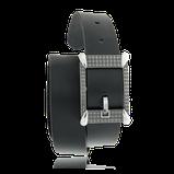 Schwarzer Ledergürtel mit einer Schnalle in Silber aus der Matrix Kollektion der Goldschmiede OBSESSION
