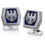 Manschettenknöpfe in Edelstahl mit persönlichem Wappen-Motiv aus der Herrenschmuck-Kollektion Transformer, handgefertigt von der Goldschmiede OBSESSION in Zürich und Wetzikon