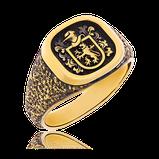 Extravaganter Wappenring in Gelbgold mit individuellem Familienwappen aus der Herrenschmuck-Kollektion Stone-Antik, angefertigt auf Kundenwunsch von der Goldschmiede OBSESSION