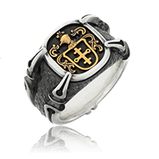 Wappenring in Silber mit einem Vollwappen vom Kunde in Rotgold aus der Gremlin Männerschmuck Kollektion der Goldschmiede OBSESSION Zürich und Wetzikon
