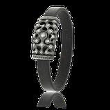 Armband mit Vintageleder in schwarz mit Verschluss in Silber aus der Kollektion Mikrokosmos von der Goldschmiede OBSESSION in Wetzikon und Zürich
