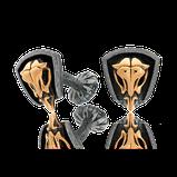Manschettenknöpfe in Silber mit Schädel in Rotgold aus der Mikrokosmos Männerschmuck Kollektion der Goldschmiede OBSESSION