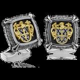 Manschettenknöpfe in Weiss-, Gelbgold und Edelstahl mit persönlichem Wappen-Motiv aus der Gremlin Männerschmuck Kollektion der Goldschmiede OBSESSION