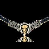 Leder Collier mit Verschluss und Anhänger in Silber und Schädel in Rotgold aus der Mikrokosmos Männerschmuck Kollektion der Goldschmiede OBSESSION