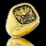 Wappenring in Gelbgold mit persönlichem Familienwappen, von der Goldschmiede OBSESION