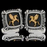 Manschettenknöpfe in Edelstahl mit Pegasus Motiv in Rotgold aus der Herrenschmuck-Kollektion Gremlin, handgefertigt im Atelier der Goldschmiede OBSESSION in Zürich und Wetzikon