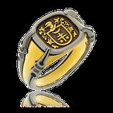Herrenring in Silber mit Monogram in Rotgold aus der Gremlin Männerschmuck Kollektion der Goldschmiede OBSESSION