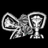 Manschettenknöpfe mit Schädel in Silber aus der Mikrokosmos Männerschmuck Kollektion der Goldschmiede OBSESSION