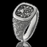 Wappenring in schwarz rhodiniertem Weissgold angefertigt auf Kundenwunsch von der Goldschmiede OBSESSION