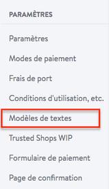 Modèle de texte pour e-boutique Jimdo