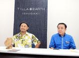 記者発表で報道陣の質問に答えるティーラ・アースの平良社長(左)、沖縄公庫八重山支店の古堅支店長=8日午前、八重山支店