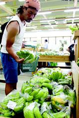 島バナナを買い求める男性。台風被害がないため、良質のバナナが次々と搬入されている=10日午後、ファマーズマーケットやえやまゆらてぃく市場