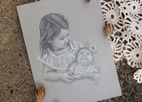 children pencil portrait of toddler siblings