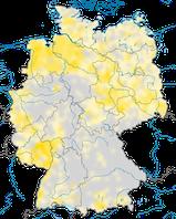 Karte zur Verbreitung des Schwarzkehlchens in Deutschland.
