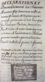 Déclaration de Marguerite de Rohan 1682 Archives départementales de Loire Atlantique