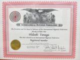 米国IHF(国際催眠連盟)会員証