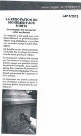 "Bulletin Municipal de Fargues St Hilaire ""La rénovation du monument aux morts"